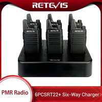 Retevis RT622 Mini Walkie Talkie PMR446 Radio FRS RT22 Handy Two Way Radio + Six Way Charger For Hotel/Restaurant/Supermarket