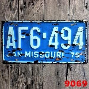 30x15cm Missouri License Plate Car Number Garage Poster Metal Tin Signs Art Wall Bar Cafe Decor