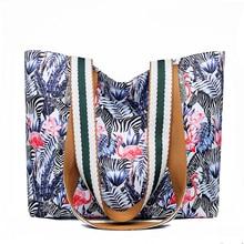 fabra waterproof nylon women handbags top handle print flower feather shoulder bags casual tote 2019 high quality handbag