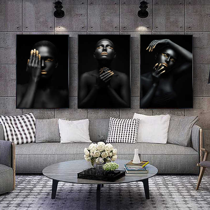 Black Gold Woman Portrait Canvas Painting Picture Posters And Prints Scandinavian Wall Art Pictures Living Room Home Decoration Painting Calligraphy Aliexpress