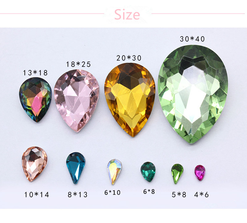 10pcs pack Glass Crystal Rhinestones 3D Water Drop Stones Nail Art Decoration Strass Polishing Charm Design Accessories Jewelry in Rhinestones Decorations from Beauty Health