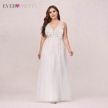 Плюс размер свадьба платья для невесты когда-либо красивая аппликации тюль A линия V вырез элегантный формальный белый свадьба платье для женщин EP07544
