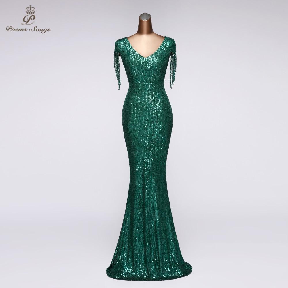Formal Evening Dress Party Unique Sleeves Vestidos Elegantes Gown Dress V-neck Elegant Mermaid Dress Robe De Soiree
