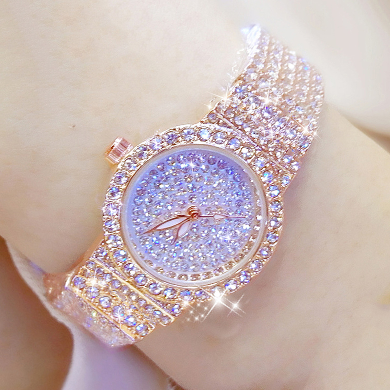 Bs Bee Sister Diamond Women Watches Luxury Brand Small Dial Female Rose Gold Watches Ladies Stainless Steel Lock Bayan Kol Saati 1