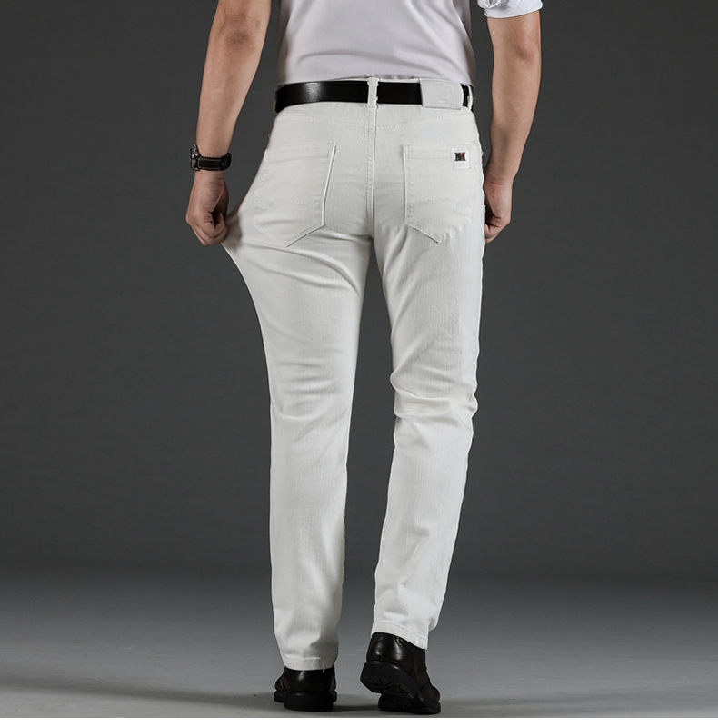 KSTUN Mens White Jeans Straight Stretch Regular Fit Business Casual Denim Pants Male Long Trousers Fashion Jeans Large Size 40 15