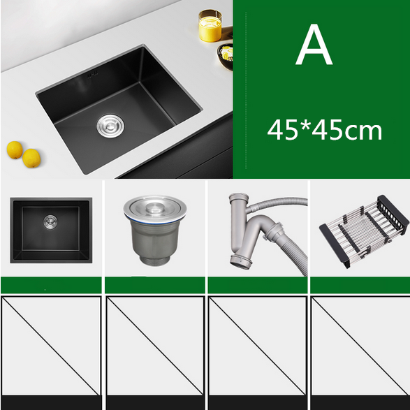 304Stainless Steel Brushed Gold Kitchen Sink Thick 4mm Single Bowl Above Counter Nano Coated Sink With Drain Basket Black Sink