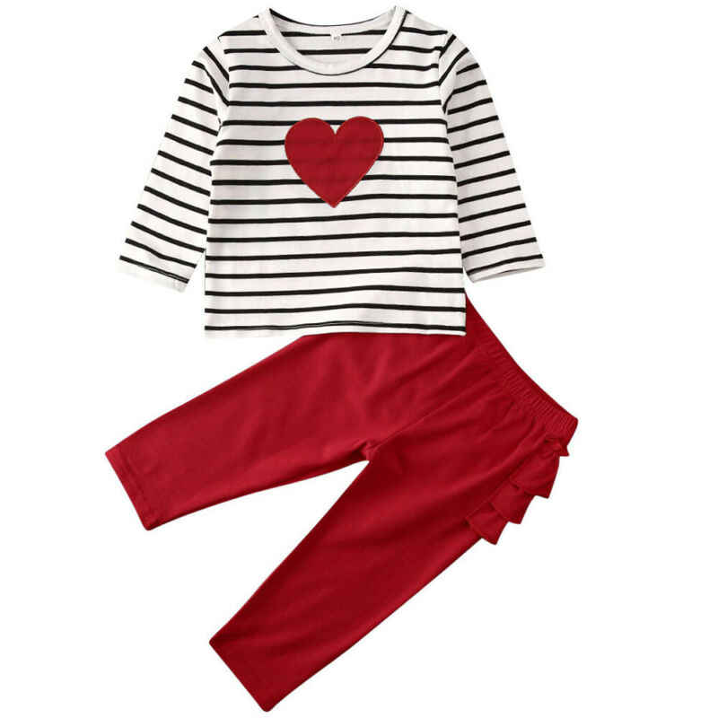 2020 New Brand Children Clothing Fashion Baby Kids Girl Love Heart Shape Striped Top T-shirt Red Ruffles Pants Valentine Outfits