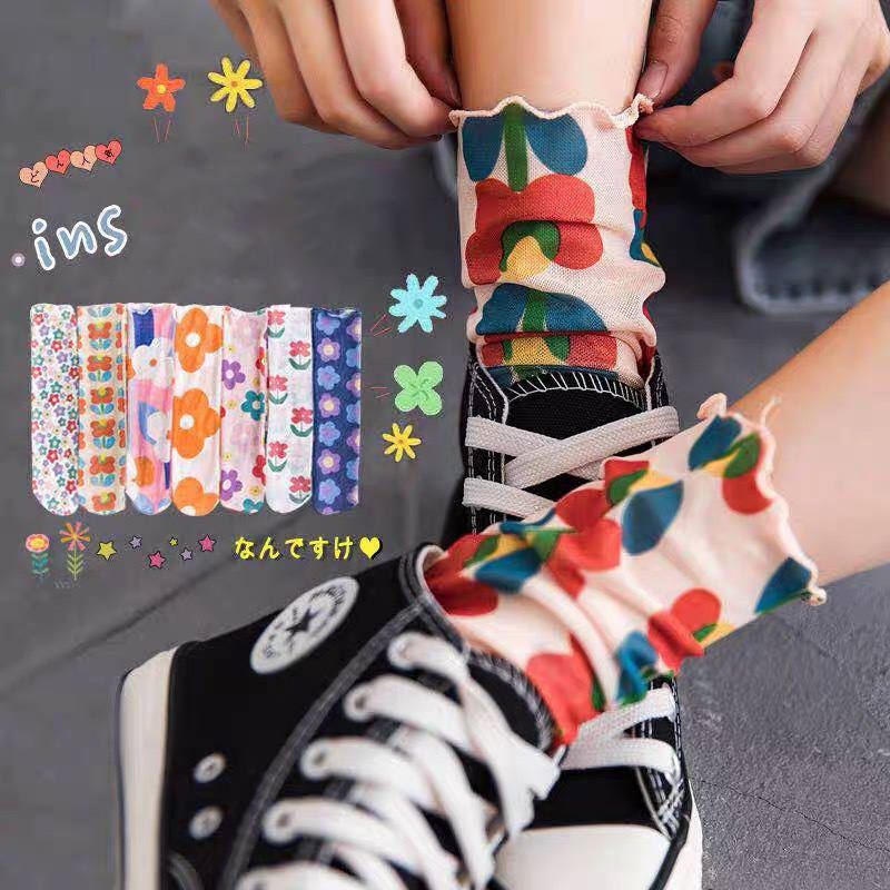 japanese fashion trend retro lace woman socks flowers colorful street hip hop Harajuku fuzzy autumn pink funny socks