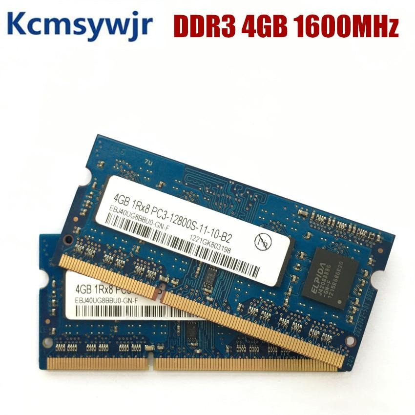 Chipset elpida 4gb 1rx8 pc3 pc3l 12800s ddr3 1600mhz 4gb memória portátil notebook módulo sodimm ram