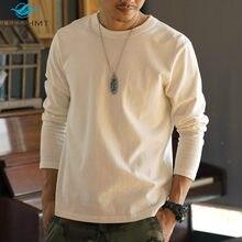 340g peso pesado masculino cor sólida manga longa de alta qualidade algodão grosso camiseta masculina casual solto estilo japão minimalista topos t