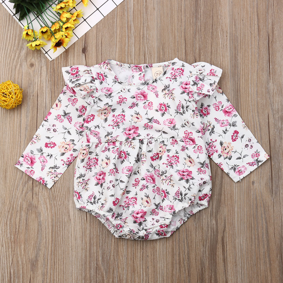 Pudcoco Newborn Baby Girl Clothes Flower Print Long Sleeve Romper Jumpsuit One-Piece Outfit Cotton Clothes