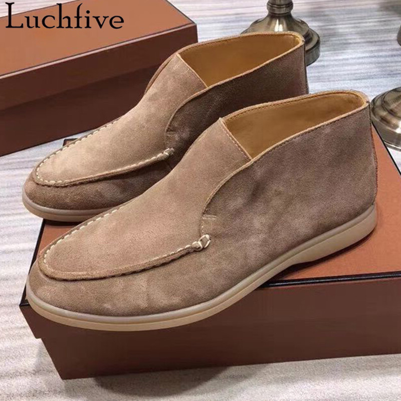 Fashion Suede Ankle Boots For Women Pointy Toe Mule Flat Shoes Slip On Beige Pink Shoes Woman Runaway Boots Femme