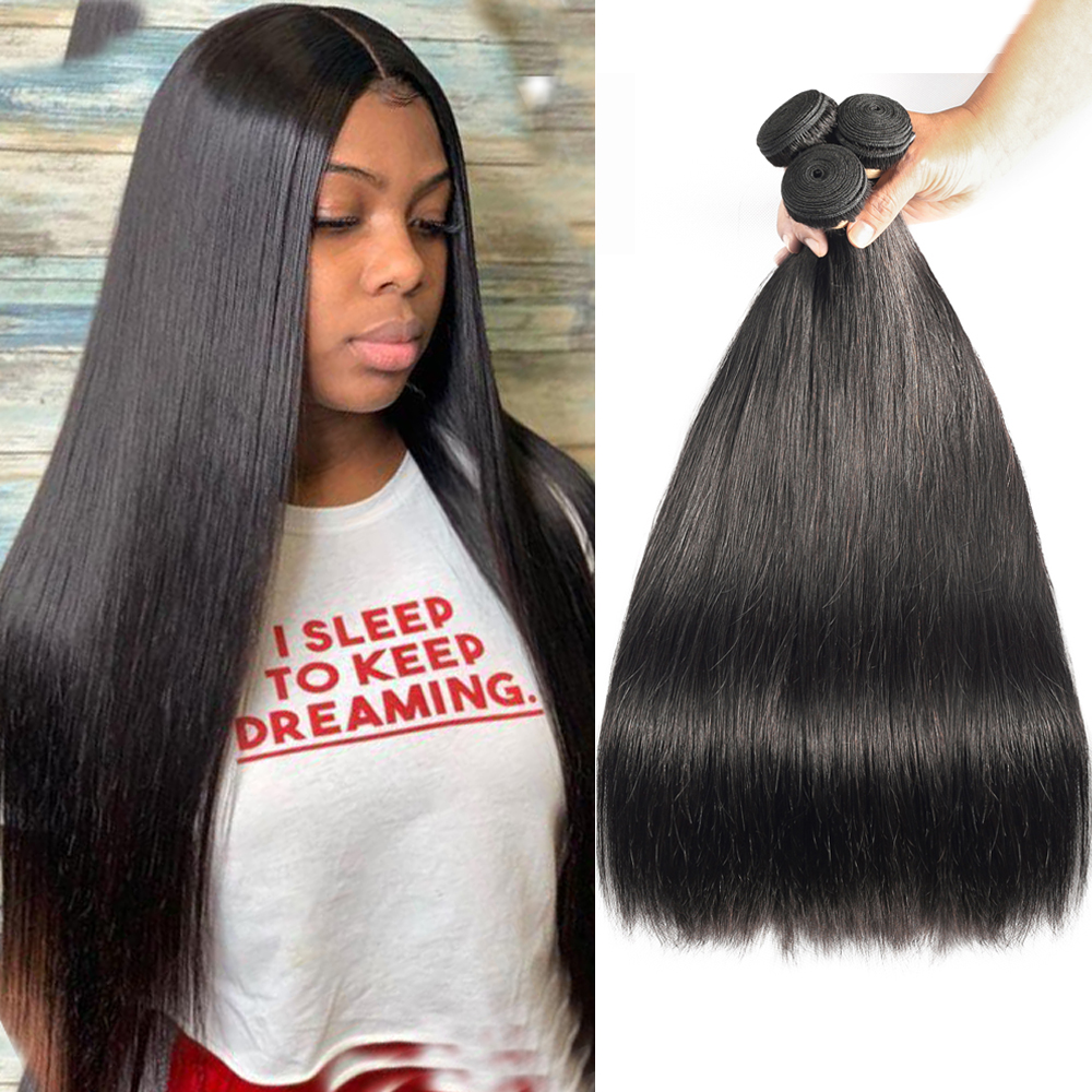 Sapphire Brazilian Straight Human Hair Weave Bundles Natural Color Remy Human Hair Extension Brazilian Human Hair Bundles