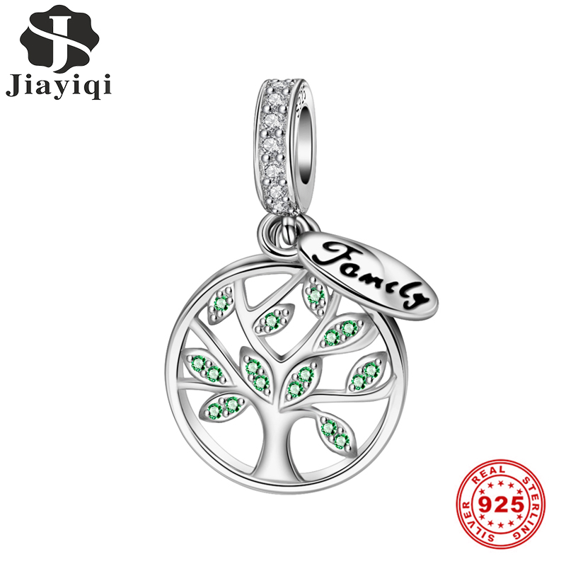 Jiayiqi Family Life Tree Charms 925 Sterling Silver CZ Beads Fit Women Women Pandora Charms Silver 925 Original DIY Jewelry Gift(China)