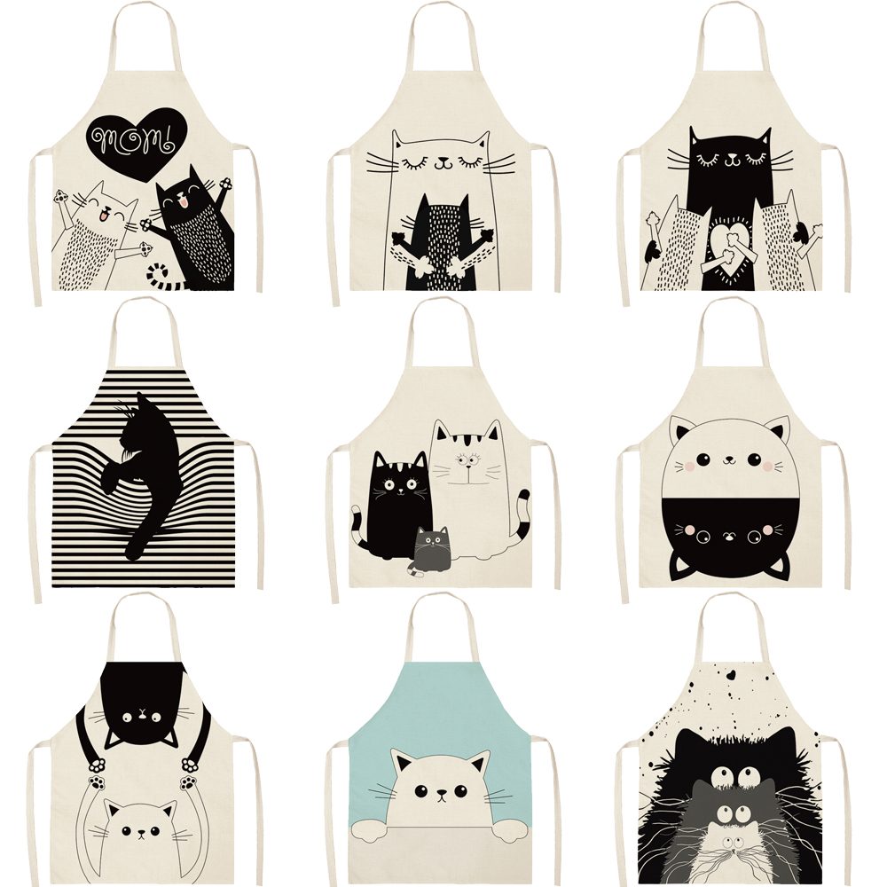 FYMX Naughty Cat Apron Kitchen Funny Hand Painted Style Cook Aprons For Home And Kitchen Uensils