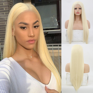 Image 1 - High Temperature Hair Lace Wig Long Silky Straight Wigs for Women Blonde Synthetic Lace Front Wig Middle Part Blonded Wigs