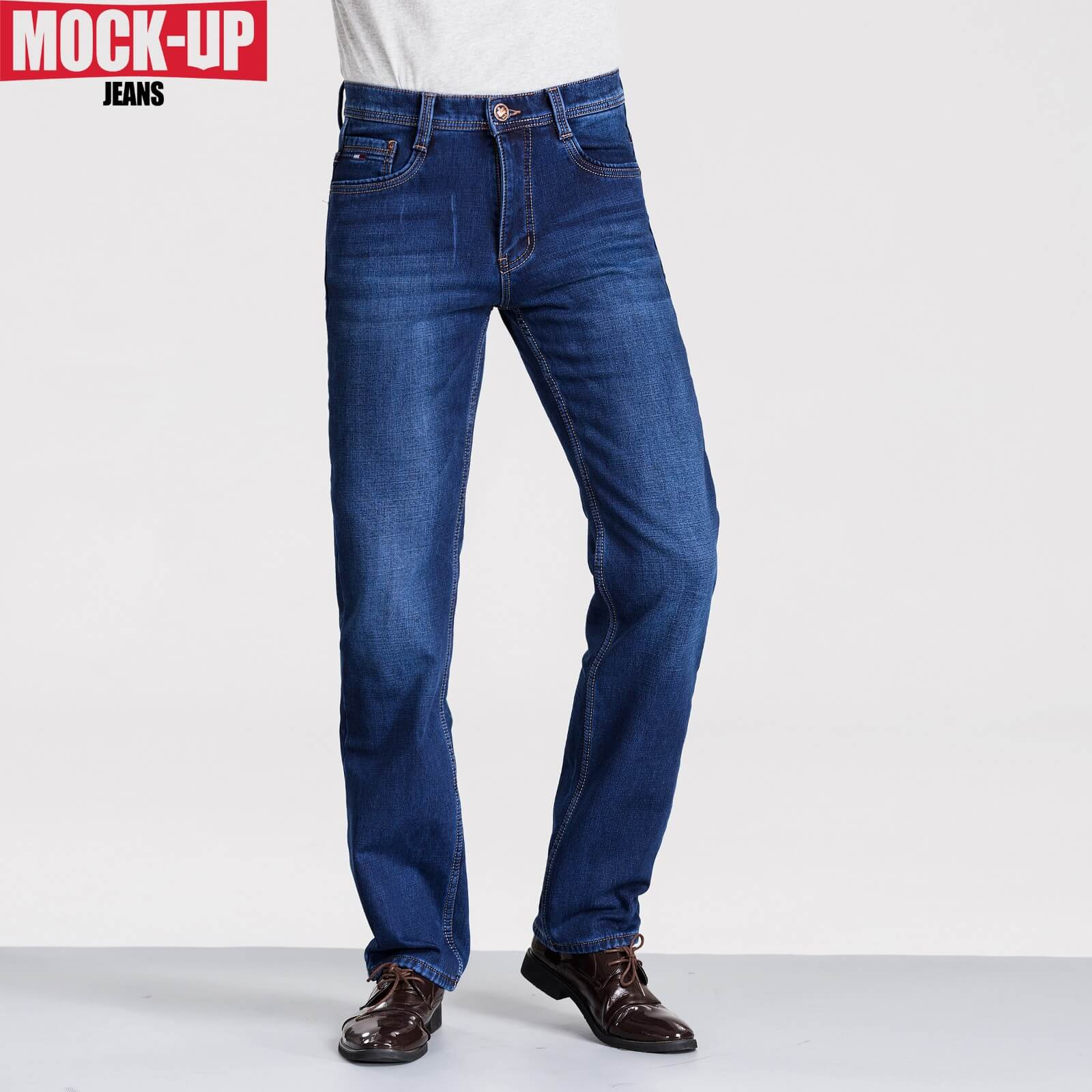 MOCK UP Brand Dsq  Jeans Classic Stretch Denim Slightly Flare Sky Blue Jeans Dsq Bike Hip Hop Style Hot Sell Plus Size 29-40