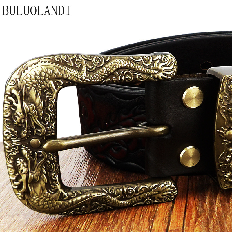 Men's Belt Leather Pure Copper Buckle Pin Buckle Dragon Belt Men Pure Leather Youth Tide High-end Leisure Adult Belts Luxury