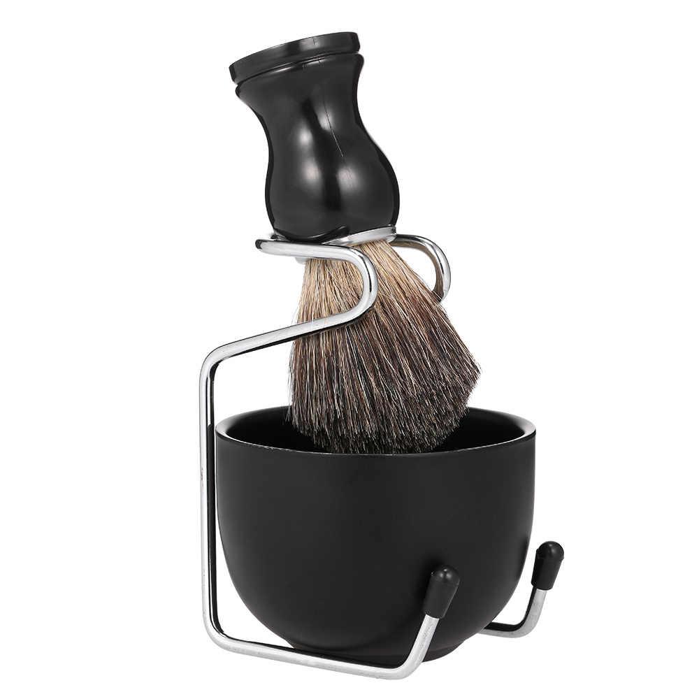 זכר גילוח סט גילוח סבון קערת עם מברשת Stand פלדת זכר פנים שיער ניקוי אמבטיה ערכת בארבר גילוח מברשת קערה stand