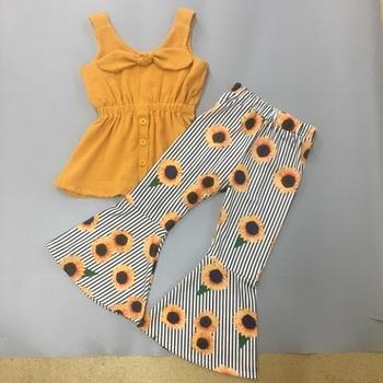 Styl jesienny dziewczęce stroje butikowe musztarda słonecznikowe spodnie dziecięce zestawy odzieżowe 2GK906-1335 tanie i dobre opinie NoEnName_Null Moda O-neck Brak COTTON spandex Unisex Pełna REGULAR Pasuje prawda na wymiar weź swój normalny rozmiar