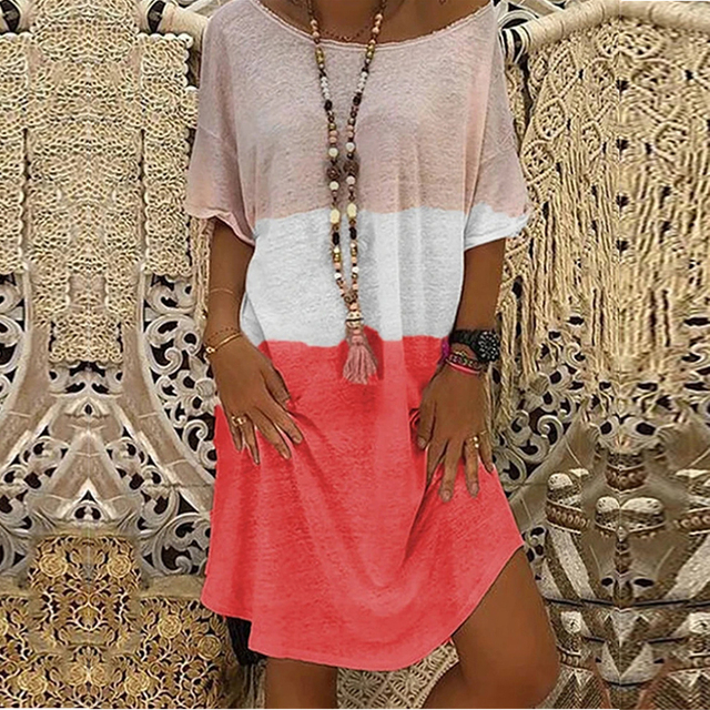 2020 Summer Casual Women Loose Print A-Line Dress Sexy Off Shoulder Party Dress Elegant Ladies Plus Size Knitted Dress Vestidos 2