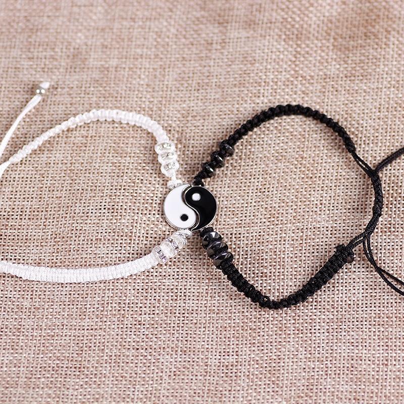 Couple Bracelets Hematite Leather Cord Braid Bracelet Chinese Yin Yang Tai Chi Alloy Pendant Two-piece Woven Lover Bracelet Gift