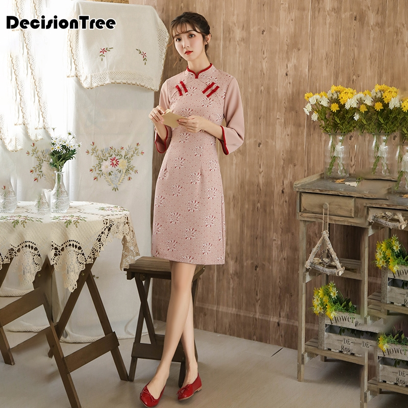 2020 Improved Cheongsam Oriental Style Tang Dress Traditional Chinese Clothing Modern Qipao Dress Linen Printing Cheongsam Dress