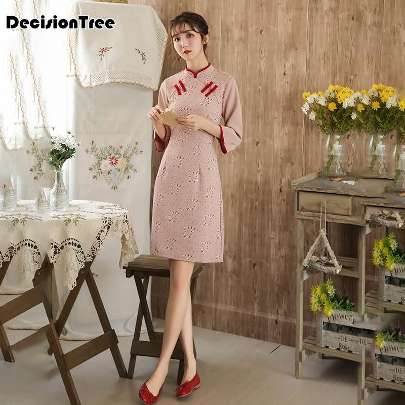 2020 Improved Cheongsam Oriental Style Tang Dress Traditional Chinese Clothing Modern Qipao Dress Linen Printing Cheongsam Dress
