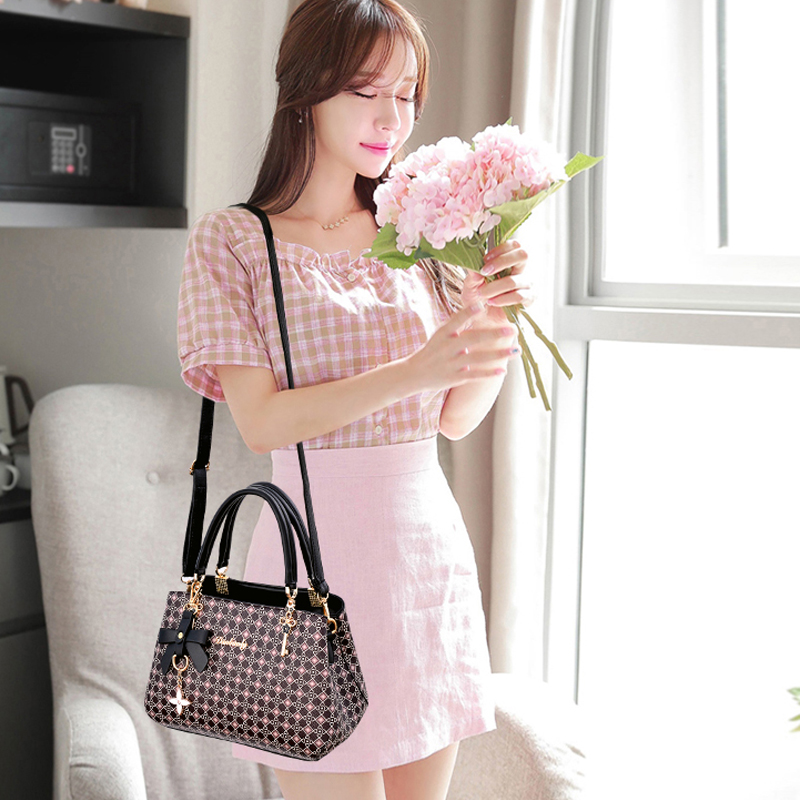 Image 5 - Beautifully bow bag crossbody women shoulder bag handbag Key  decoration Geometric pattern luxury plaid bag women leather  handbagShoulder Bags