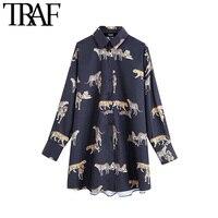 ONKOGENE Frauen Vintage Stilvolle Animal Print Blusen Mode Revers Kragen Langarm Weiblichen Shirts Blusas Mujer Chic Tops