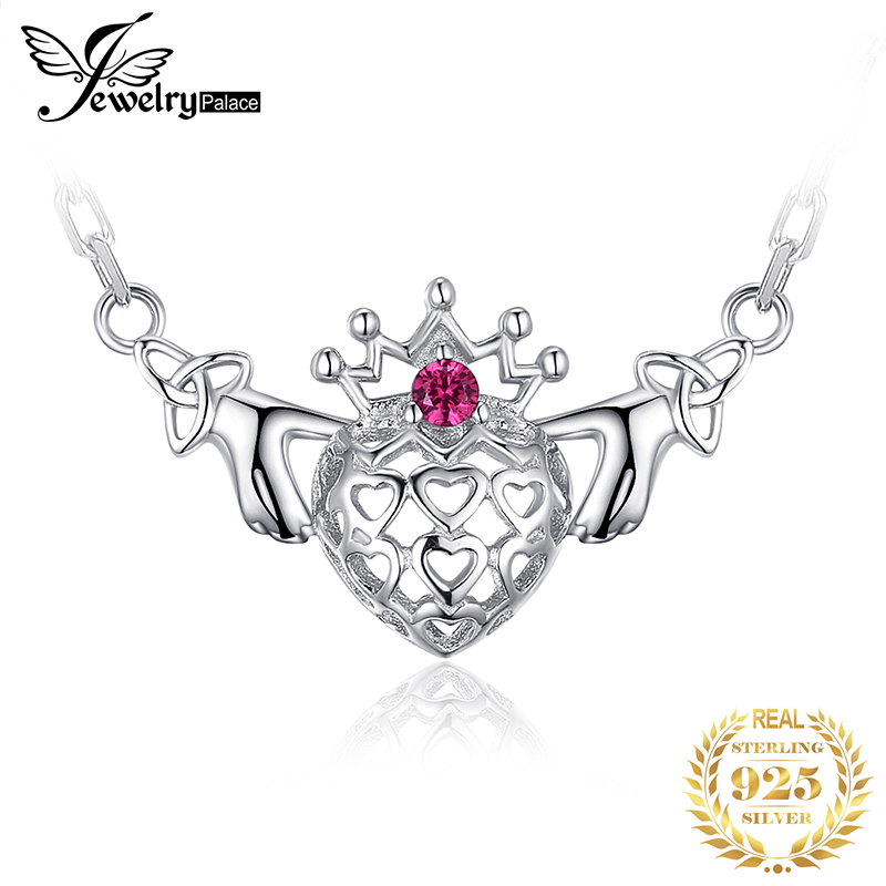 Celtic Knot Claddagh Created Ruby Pendant Necklace 925 Sterling Silver Gemstones Chain Choker Statement Necklace Women 45cm