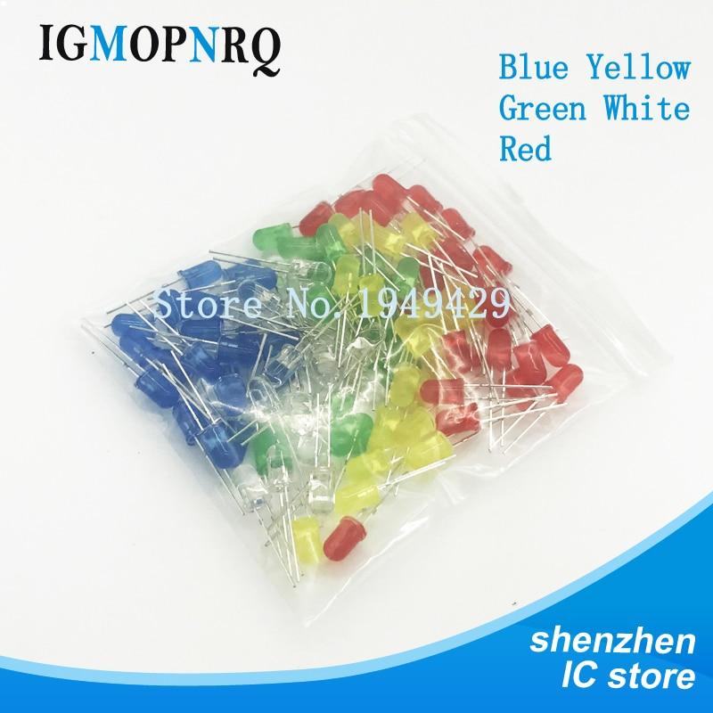 100pcs 5mm LED Diode Light Assorted Kit DIY LEDs Set White Yellow Red Green Blue Electronic Diy Kit Hot Sale
