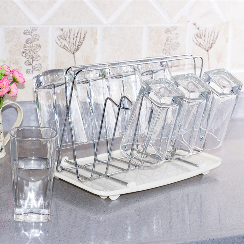 new arrival high quality stainless steel square cup holder tray bottle drying rack kitchen accessories