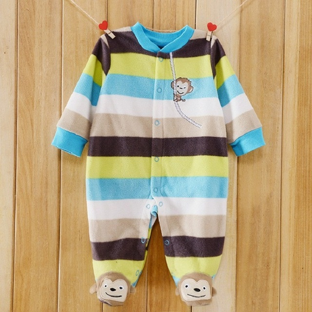 Warm Baby Clothes Brand Boy Girl Rompers Cotton Fleece Long Sleeve Jumpsuit Newborn bebe Overall