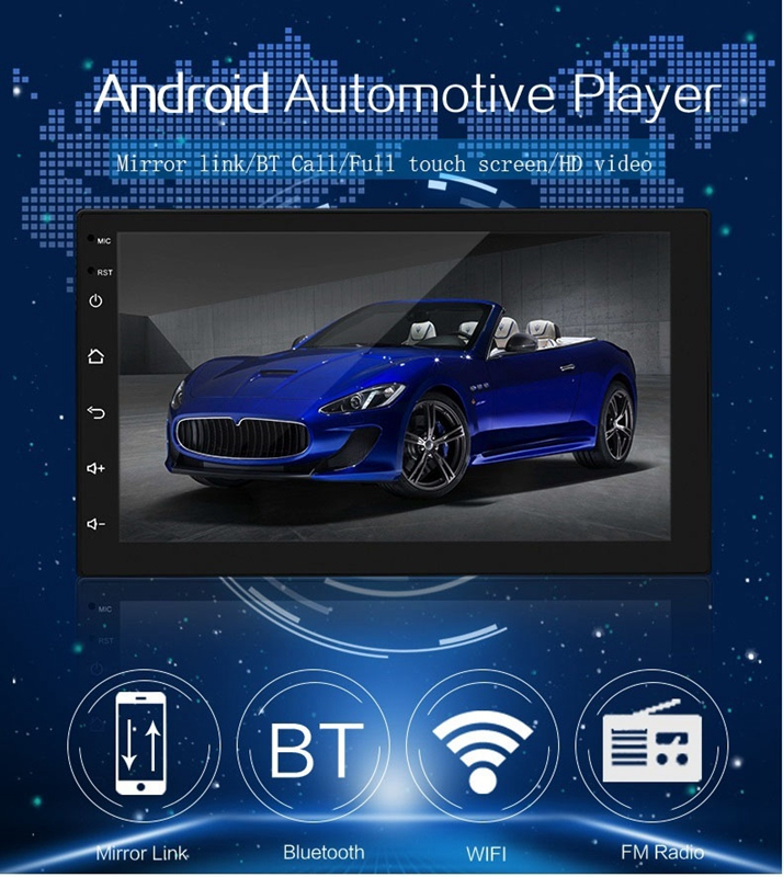 2 Din Android 8.1 GPS 7 inch Touch-Screen MP5 /MP4/MP3 Player,Bluetooth Audio,Car Stereo Receivers,Rear View Camera,FM Radio,USB