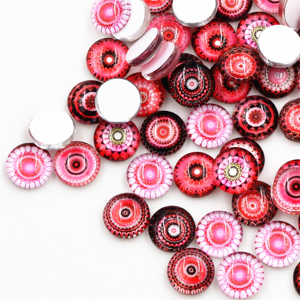 Hot Sale 50pcs 12mm  Mixed Handmade Photo Glass Cabochons  (D5-12)