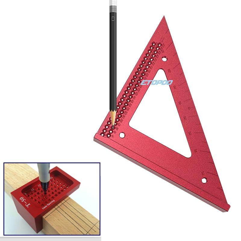 Деревообрабатывающая линейка, отверстие, чернильная шкала, квадраты, треугольник, мерный инструмент