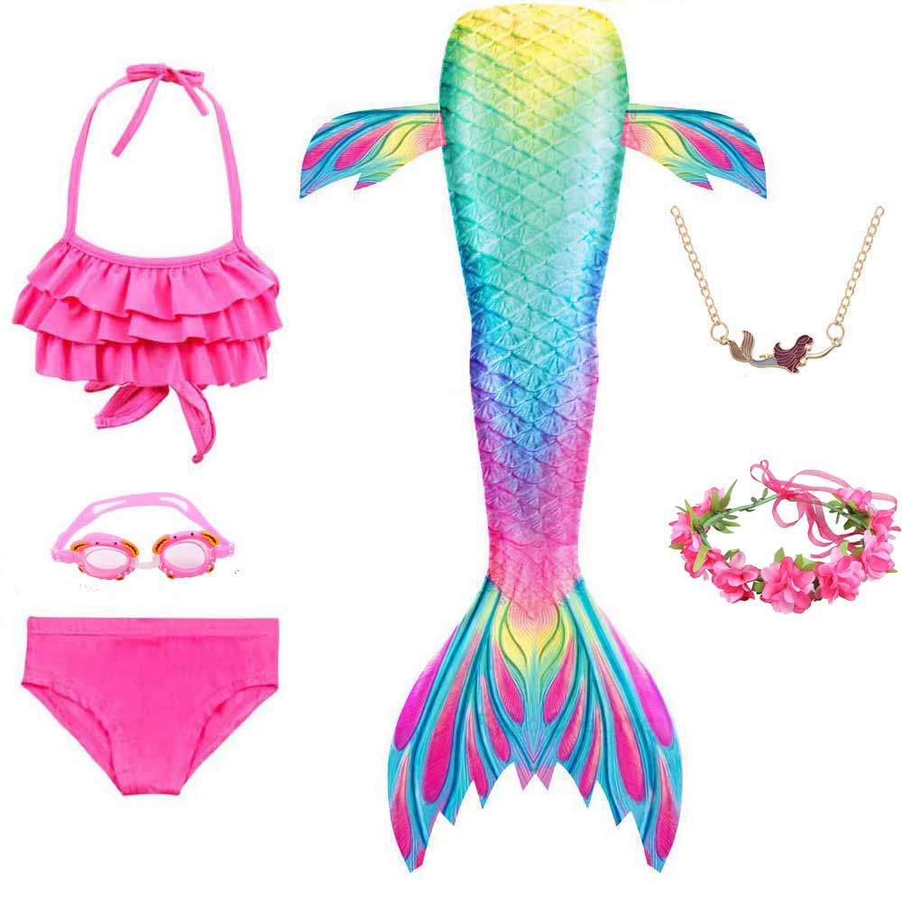 2020 New Kids Mermaid Cosplay Girls Fancy Swimsuit Party Clothes Swimming Mermaid Tails Costume Necklace Goggles Monofin