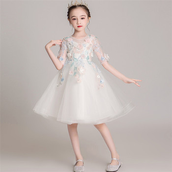 Little Kids Baby Solid White/Pink Color Appliques Flowers Birthday Evening Party Pron Dress Children Host Piano Costumes Dress