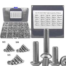 цена 500Pcs Screws Nuts Set M3 M4 M5 Stainless Steel Flat Head / Button Head Hex Socket Head Cap Bolts Screws Nuts Assortment Kit онлайн в 2017 году
