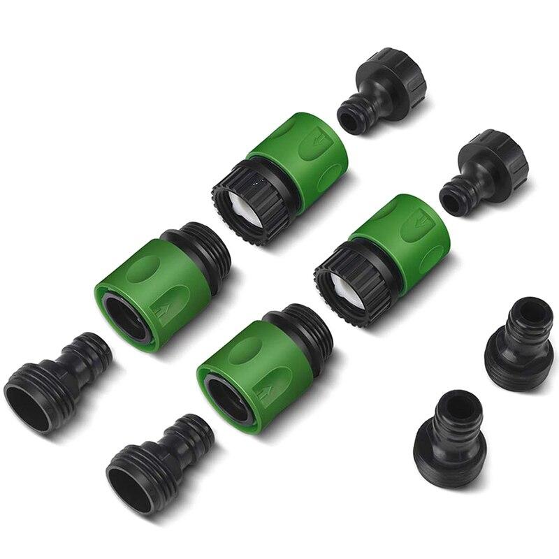 Accesorios para manguera de agua de liberación de conexión rápida de jardín conectores de plástico, macho y hembra 3/4 pulgadas GHT 10 Uds 20/30/40/50/60/70cm longitud 1/2