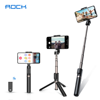 ROCK 3 in 1 Wireless Bluetooth Selfie Stick Foldable Handheld Mini Tripod Monopod with Wireless Remote For iPhone Xiaomi Android