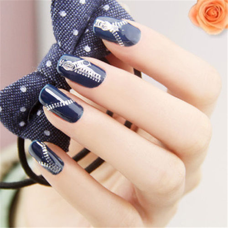 Manufacturers Direct Selling Nail Sticker Fashion Zipper Pattern Nail Sticker Gold Plated Silver-plated Manicure Flower Stickers