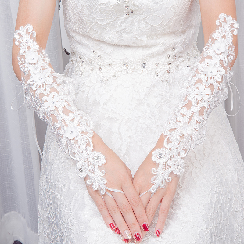 Women White Lace Wedding Gloves Fingerless Elbow Length Long Bridal Party Wedding Accessories