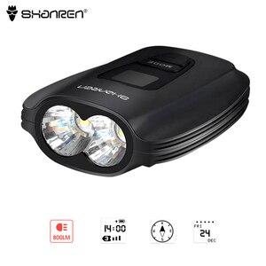 Shanren rover ii farol de bicicleta usb recarregável 800lm super brilhante luz da bicicleta oled luz dianteira