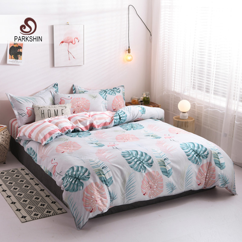 Parkshin Flamingos Bedding Set Bedspread Decor Double  Duvet Cover Zipper Flat Sheet Bed Linen Set Adult Single Nordic Bed 150