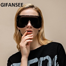 GIFANSEE oversized shield mask Rimless sunglasses women One