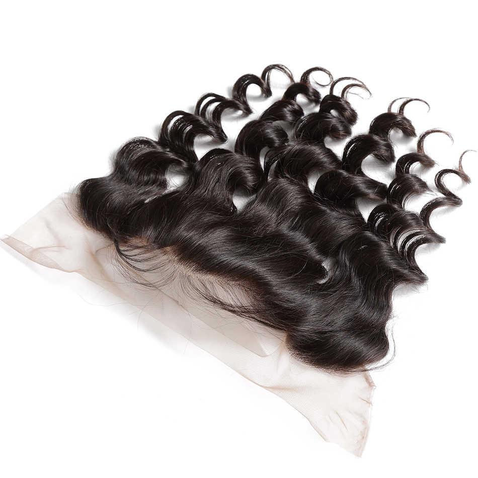 8-30 inç brezilyalı saç örgü gevşek dalga İnsan saç 3 4 demetleri ile dantel Frontal Remy saç çift çekilmiş orta oranı