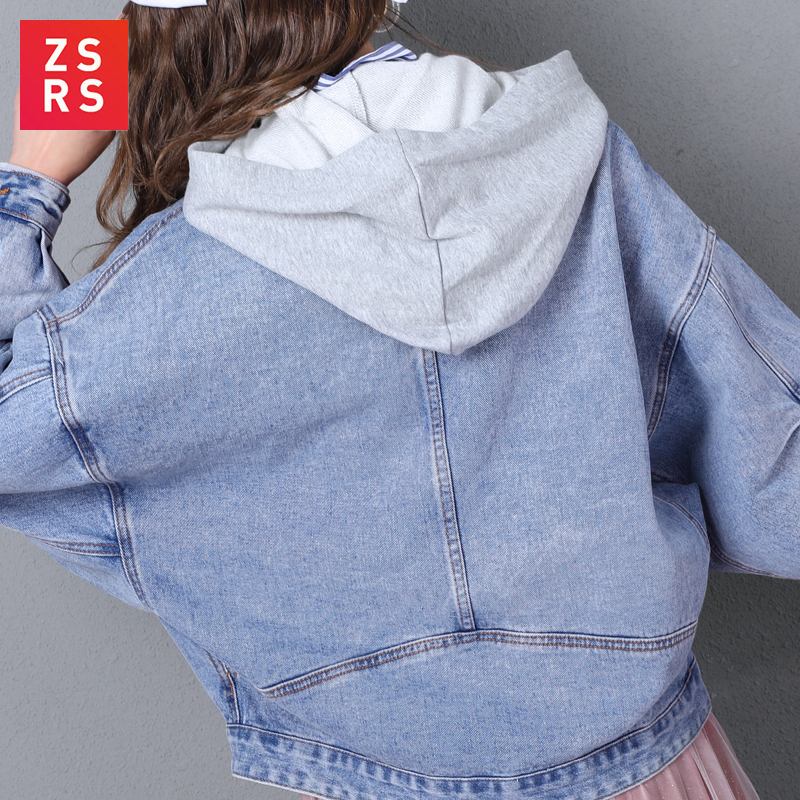 ZSRS однотонная джинсовая куртка с отложным воротником для женщин, Свободные повседневные синие модные женские пальто, женская верхняя одежд...