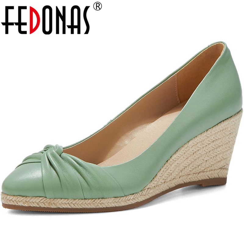 FEDONAS Solid Color Wedge Concise Women hoes Pointed Toe Pumps Spring Summer Shoes Basic  Sheepskin Leather Fashion Shoes Woman